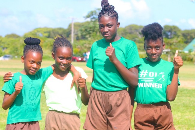The victorious Green House medley relay team that comprised of (from left) Jaleah Gibbons, Ryanna Pinder, Danesha Goodman and Kiara White. (Pictures by Morrissa Lindsay)