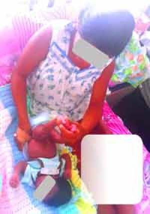 The 11-year-old mother and her baby at GPHC Maternity Unit yesterday.