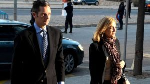The princess arrived with her husband at  a makeshift courtroom in Palma, Majorca.