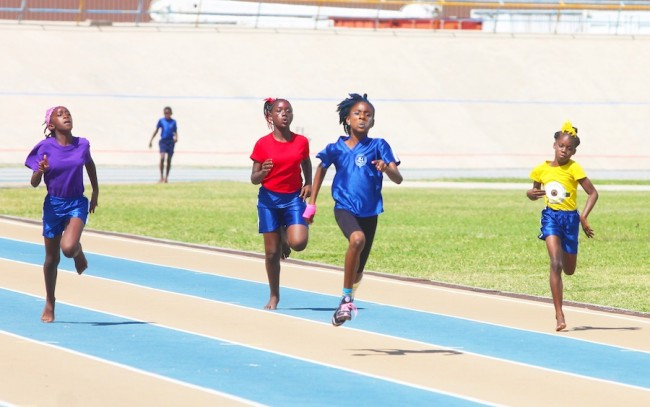Victrix ludorum Tionce Walrond of Blue House was superb all day including when she won this under-13 girls 100m. (Pictures by Morissa Lindsay)