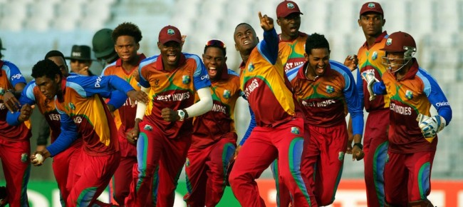 A jubilant West Indies Under-19 team after defeating India on Sunday.