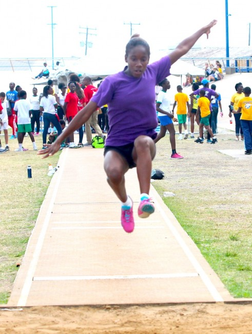 Ashley Weekes jumped 4.16 to win the under-15 girls long jump.