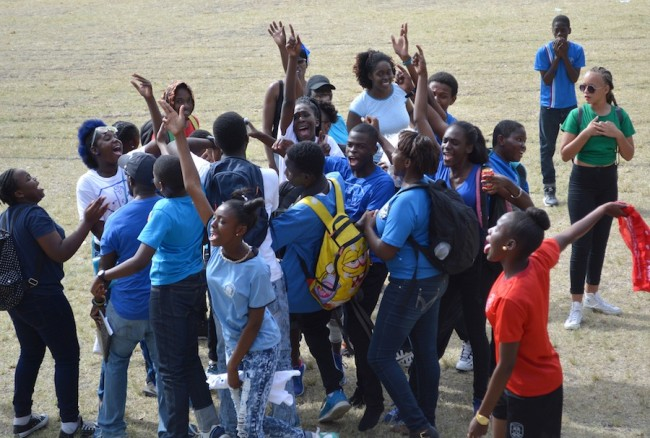 Blue House celebrating their win after dethroning champions Green House.