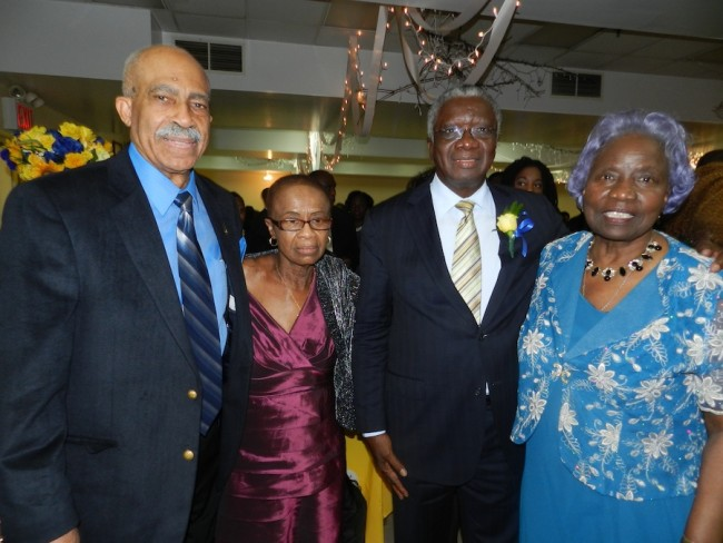 Prime Minister Freundel Stuart with Mr and Mrs Cheeseman (his cousin) and June Goddard  (second from left).