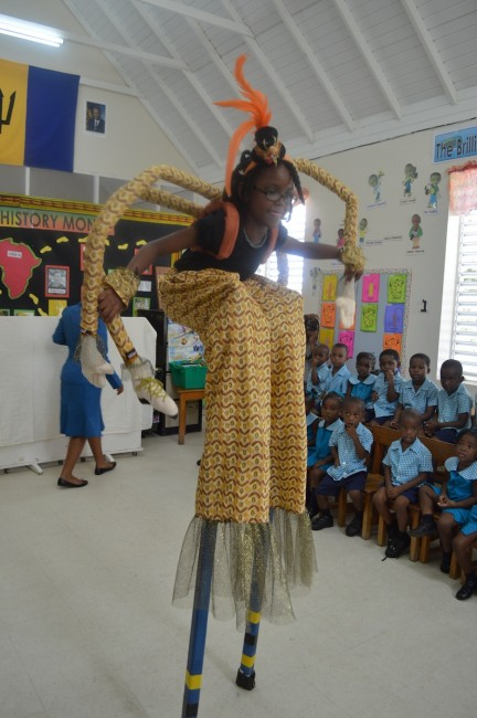 Eja as Anansi was a huge hit with the students.