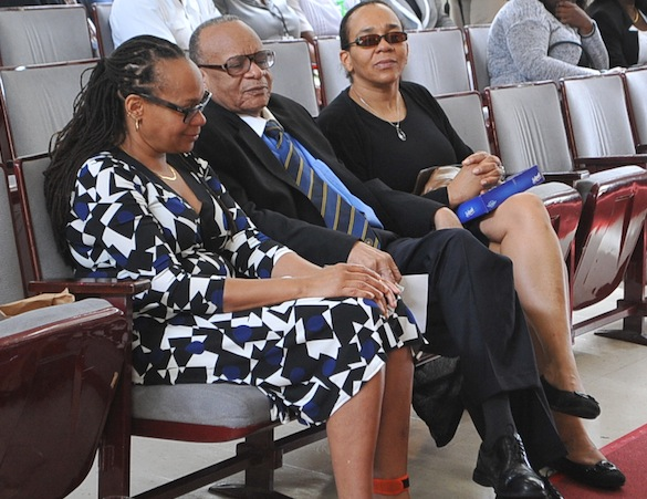 Norma Holder's family (sitting from left), daughter Janet, husband Jean Holder and daughter Caroline.