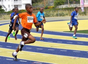 Daniel Duncan of Bayley's Primary powers home ahead of the field in the boys 400m.