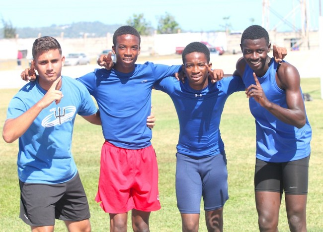 (From left) Zayn Nicholson, Tyreke Norville, Nathan Cox and Aaron Worrell led Boadicea to victory in the senior boys sprint medley.