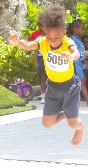 Jahzaria Ward of St Elizabeth leapt 1.46m to set a new record in the under-seven girls' standing broad jump.