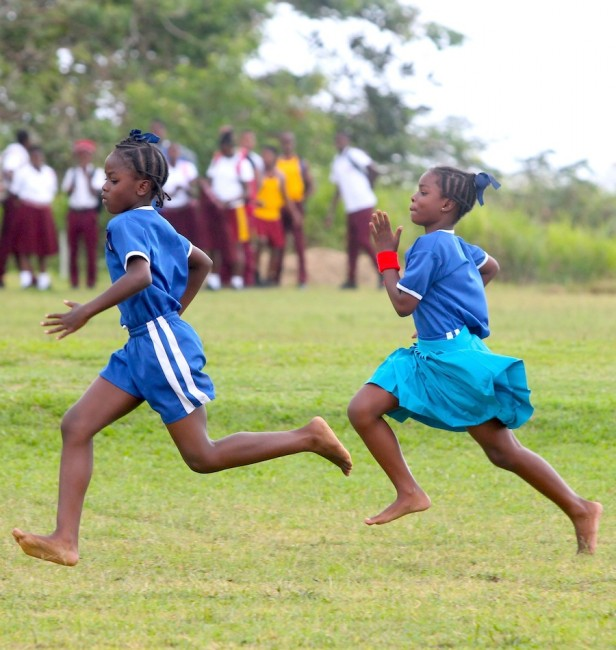 Miracle Collymore was victorious in the under-nine girls 100m for Blue House.
