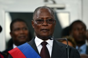 Newly elected Haitian Provisional President Jocelerme Privert speaking at the installation ceremony in the National Palace in Port-au-Prince, Haiti, yesterday.