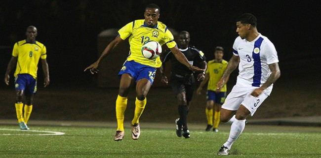 Armando Lashley (second right) made his international debut for Barbados last night.