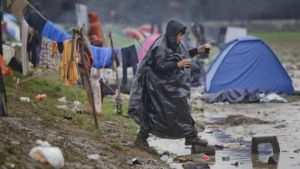 Conditions at the Idomeni camp have deteriorated following days of heavy rain.