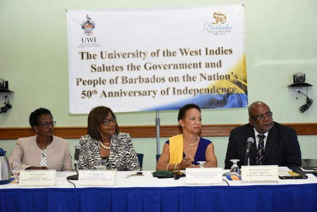 Principal of the Cave Hill Campus Professor Eudine Barriteau (second from right)and other officials at this morning's launch.