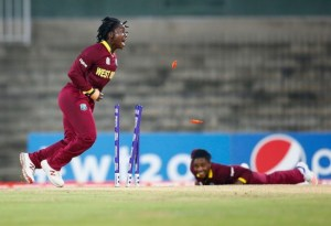 Deandra Dottin (left) appeals for a run-out during the game against Bangladesh.