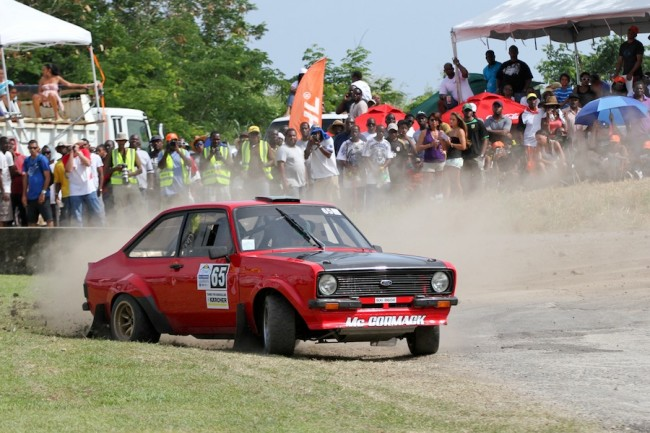 Enda McCormack in action during Sol Rally Barbados 2013 in a Ford Escort MkII. (Picture by Himal Reece)