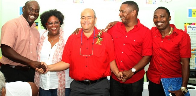 Here, Dr William Duguid is congratulated by BLP leader Mia Mottley (second from left) and fellow Christ Church candidates.