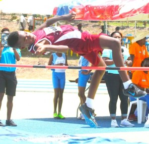Kadari Webster of Hilda Skeene was the king of the high jump when he won the boys open event. (Pictures by Morissa Lindsay)