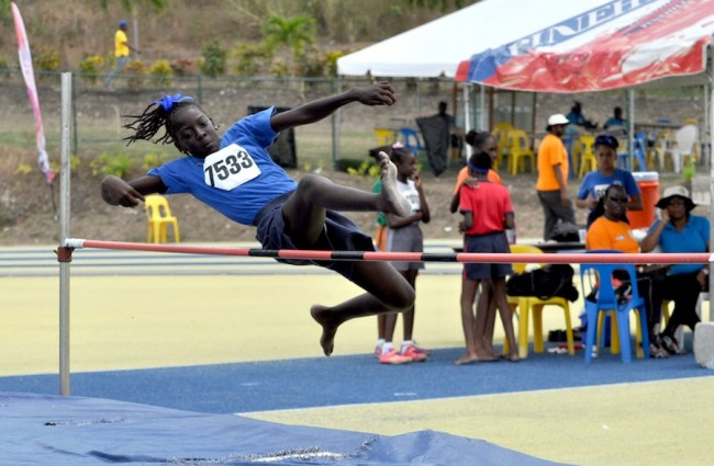 Kaniqua Morris gets up and over at 1.15m which earned her third place in the Girls Open high jump.