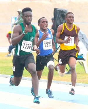 Kentoine Browne of Lester Vaughan  clocked the fastest time to win the under-20 boys 100m. (Pictures by Morissa Lindsay)