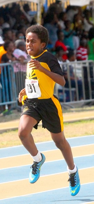 Kobe Hutson of Christ Church Foundation showed a determined effort to win the under-13 boys 400m.