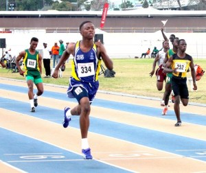 Matthew Forde of Combermere definitely had the under-17 boys 100m on lockdown.