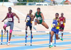 Nathan Fergusson of Combermere won the under-17 boys 400m but received stiff competition from second placed Rasheem Griffith of Coleridge and Parry and Hasani Lowe of Lester Vaughan.