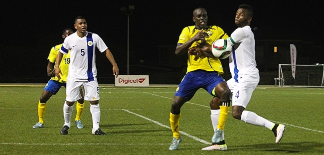 Romario Harewood (second right) scored Barbados' match- winning goal against Curacao. (Pictures by Morissa Lindsay)