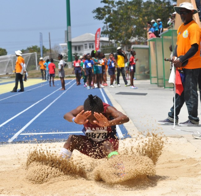 Samiya Dell with her leap of 3.72m was good enough for thrid spot in the Girls U11 long jump.