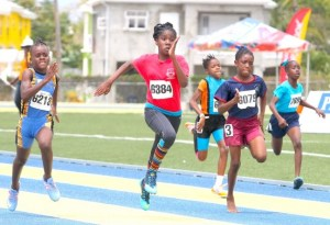The under-11 girls division always creates excitement and Kelescia Downes of Arthur Smith (second left) got the better of main rival Skye Spencer-Layne of West Terrace in a thrilling match-up.