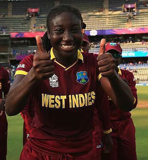 West Indies captain Stafanie Taylor giving supporters the thumbs-up.