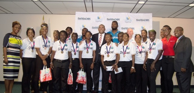 Digicel welcomed the West Indies players home. At seventh right is Digicel CEO Conor Looney and at right is Sports Minister Stephen Lashley.