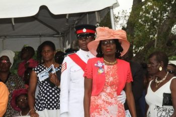 Wife of the late Livingstone Eversley, Joycelyn (right) being supported by Family Liaison Officer Station Sergeant Sonia Thompson.