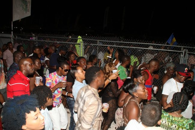 Part of the crowd in VIP  during the Digicel Reggae  Beach Party yesterday.