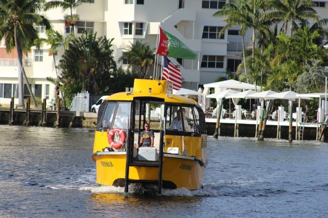 The water taxi is a popular transportation feature  in Fort Lauderdale.