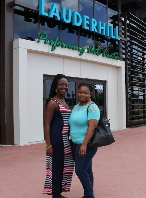 Barbados TODAY representatives Davandra Babb (at left) and Fernella Wedderburn outside the Lauderdale Performing Arts Centre.