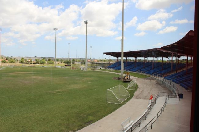 The pitch at the Central Broward Regional Park & Stadium is being prepared and the brown grass patches watered by an irrigation system in preparation for the July CPL.
