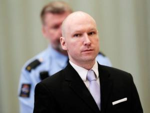 Mass killer Anders Behring Breivik is seen on the fourth and last day in court in Skien prison, Norway, on March 18.