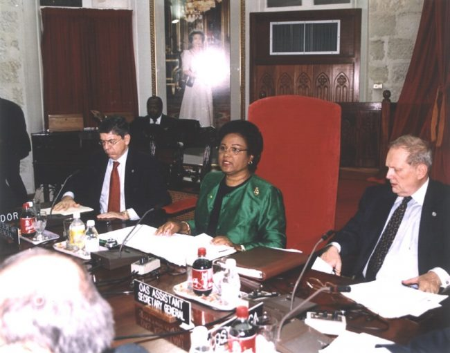 Minister of Foreign Affairs Billie Miller representig Barbados at the 32nd Regular Session of the OAS General Assembly in June, 2002.