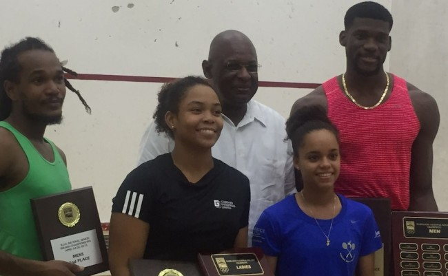 National Squash finalists (l-r)  Rhett Cumberbatch (runner-up), Meagan Best (winner), BOA's Erskine Simmons, Amanda Haywood (runner-up) and Shawn Simpson (winner).