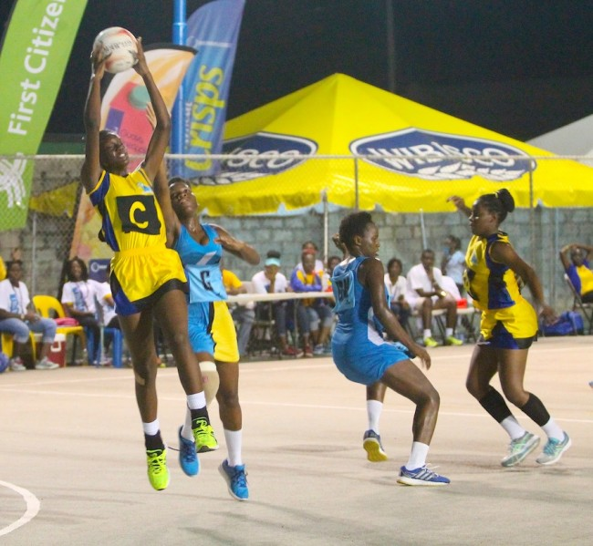 Stephian Shepherd playing center for Barbados did well in the latter stages of the game against St Lucia.