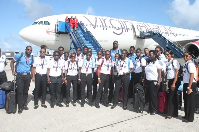 The West Indies Women's team and a few members of the men's squad arrived just after 3 p.m. on Virgin Atlantic.