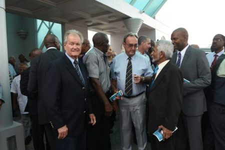 From left, former Barbados and West Indies cricketer David Allan, former Barbados player William Bourne, former Barbados and West Indies player Robin Bynoe, former Trinidad and Tobago and West Indies Vice Captain Deryck Murray and commentator Andrew Mason.