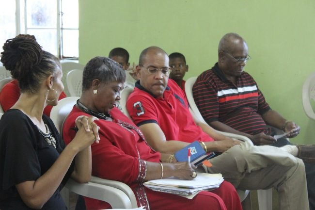 Opposition representives, including (from left) Santia Bradshaw, Cynthia Forde, Kerrie Symmonds,  along with former St Michael South East representative DeLisle Bradshaw.