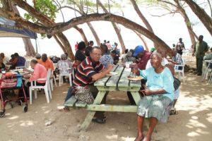 Scores of elderly folks gathered at Bath, St John  today for the National Assistance Board's annual picnic.