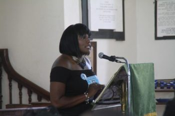 Rhonda Robinson delivering a glowing tribute at her cousin Colin Forde's funeral service today.