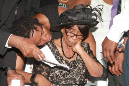 Colin Forde's mother Elaine Forde was overcome with grief at the gravesite.
