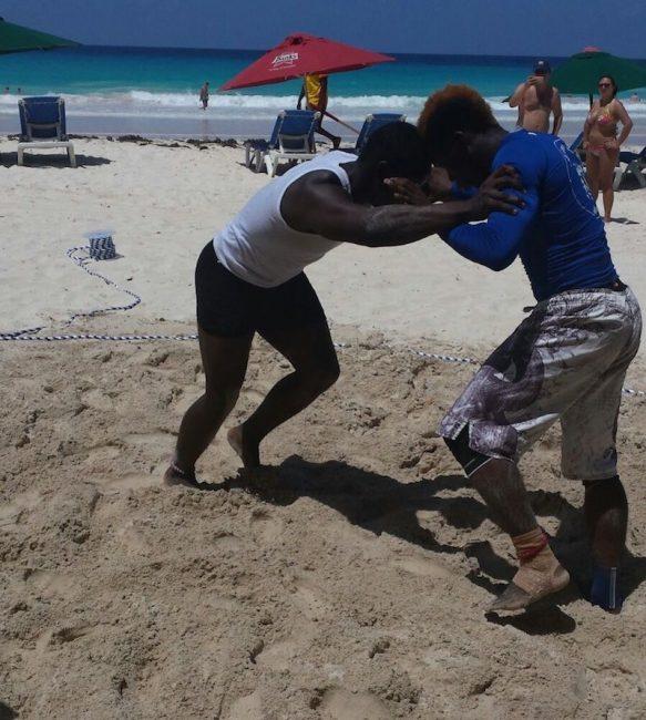 Jabario Brathwaite (left) in action against Shackeem.