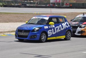 Martinique's Pascal Calvel of Team Suzuki momentarily leads in the Swift Cup. (Pictures compliments BFOS)