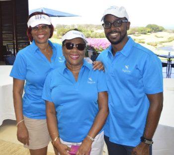 Brokers Angela Pilgrim (Quality Insurance & Financial Services), Maureen Graham (Insurance & Professional Services Inc.) and Sean Phillips (Lashley Financial) were among those enjoying the Sagicor Golf Scramble.